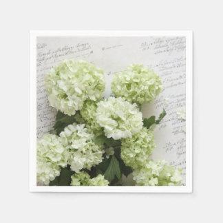 Guardanapo De Papel Hydrangeas brancos com escrita do roteiro