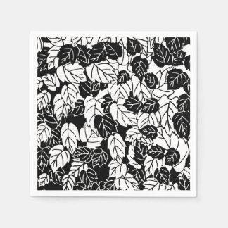 Guardanapo De Papel Impressão japonês da folha, preto e branco