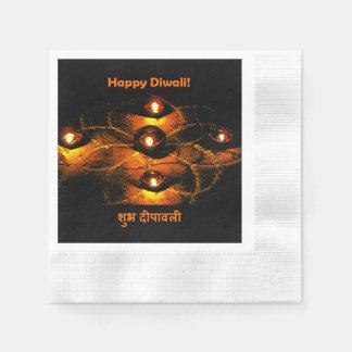 Guardanapo De Papel Luzes de Diwali Diya e cumprimento felizes do