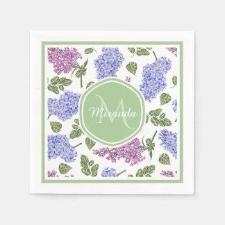 Guardanapo De Papel Monograma verde Pastel floral do Lilac chique da