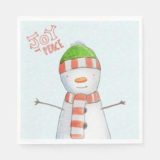 Guardanapo De Papel Natal bonito do boneco de neve da alegria e da paz