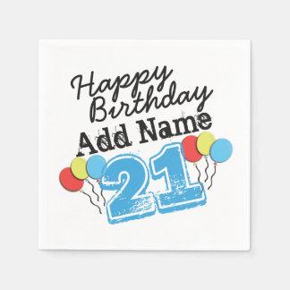 Guardanapo De Papel O aniversário de 21 anos personaliza as fontes