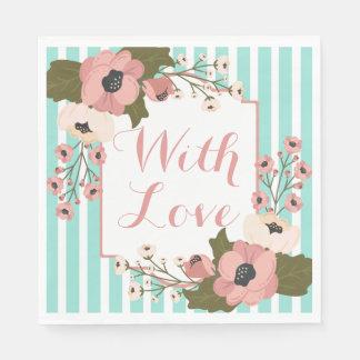 Guardanapo De Papel O rosa floral do amor floresce as listras azuis da