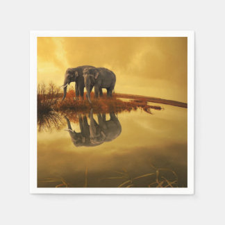 Guardanapo De Papel Por do sol dos elefantes