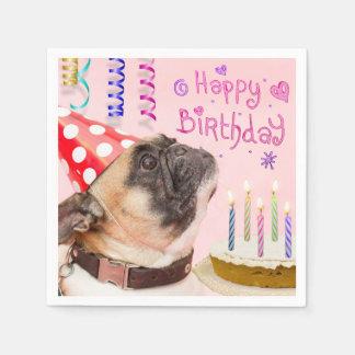 Guardanapo De Papel Pug do partido e bolo de aniversário