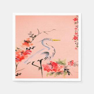 Guardanapo De Papel rosa asiático do pêssego da flor do guindaste dos