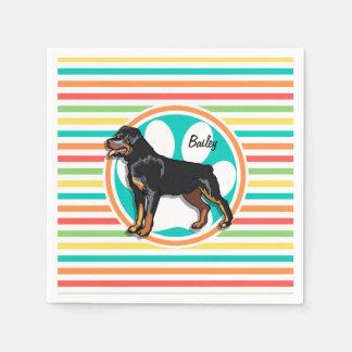 Guardanapo De Papel Rottweiler; Listras brilhantes do arco-íris