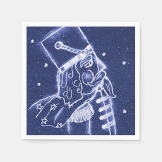 Guardanapo De Papel Soldado de brinquedo do Nutcracker na luz - azul