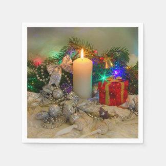 Guardanapo De Papel Vela do Natal e caixa dos presentes