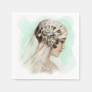 Guardanapo De Papel Verde da hortelã da noiva do vintage de Deco