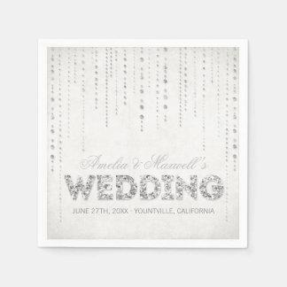 Guardanapo de prata do casamento do olhar do brilh guardanapo de papel