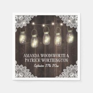 Guardanapo do casamento do frasco da madeira do