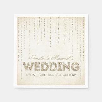 Guardanapo do casamento do olhar do brilho do ouro guardanapo de papel