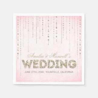 Guardanapo do casamento do olhar do brilho do ouro guardanapos de papel