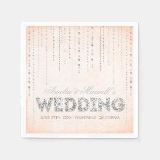 Guardanapo do casamento do olhar do brilho do pêss guardanapo de papel