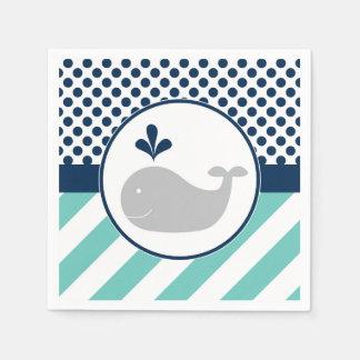 Guardanapo do chá de fraldas da baleia azul