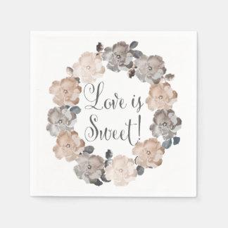 Guardanapo florais da série do casamento da guardanapos de papel