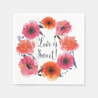 Guardanapo florais da série do casamento da guardanapo de papel