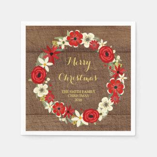 Guardanapo floral vermelho de madeira do Natal da