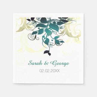 Guardanapo wedding personalizados folhas do Aqua Guardanapo De Papel
