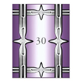 Guarnição roxa & de prata do aniversário do convites personalizados