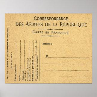 Guerra mundial 1, cartão de correspondência milita poster