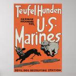 Guerra mundial 1. do vintage do ~ de Teufel Hunden Poster