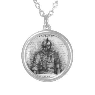 Guerreiro do soldado - o juramento personaliza a colar com pendente redondo