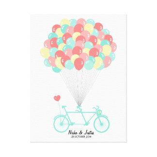 Guestbook em tandem do casamento da bicicleta em impressão em tela