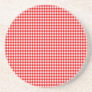 guingão vermelho e branco da verificação minúscula porta copos de arenito