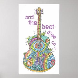 "Guitarra 14"" do hippy x 24"" poster pôster"