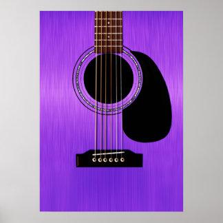 Guitarra acústica roxa póster