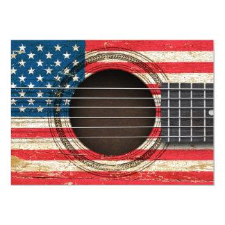 Guitarra acústica velha com bandeira americana convite personalizados