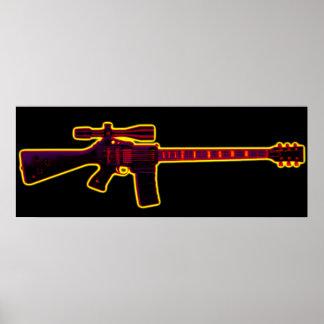 Guitarra Blacklight do assalto Pôster