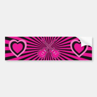 Guitarra cor-de-rosa bonito & corações adesivo para carro