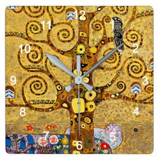 "Gustav Klimt , "" Tree of life "" Relógio Quadrado"