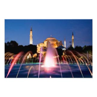Hagia Sophia e fonte na noite em Istambul Foto Arte