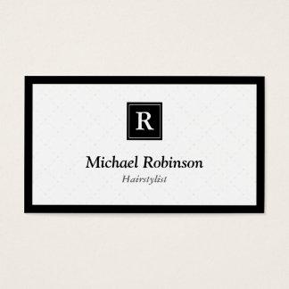 Hairstylist - monograma elegante simples cartão de visita