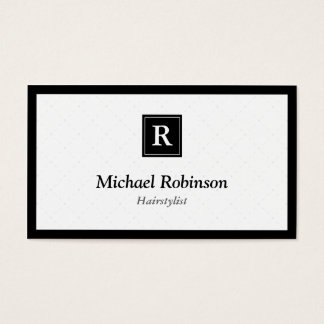 Hairstylist - monograma elegante simples cartão de visitas