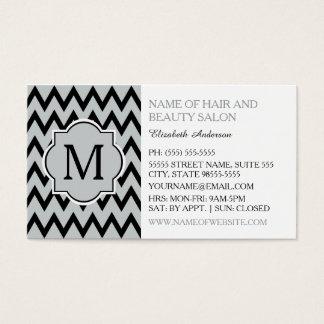 Hairstylist preto na moda do monograma do cartão de visitas