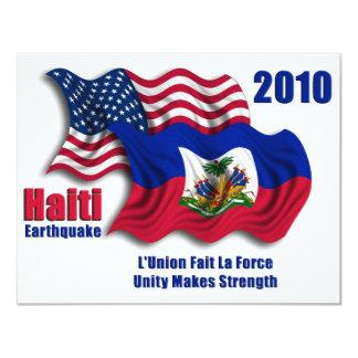 Haitian & bandeiras de ondulação americanas para convite 10.79 x 13.97cm