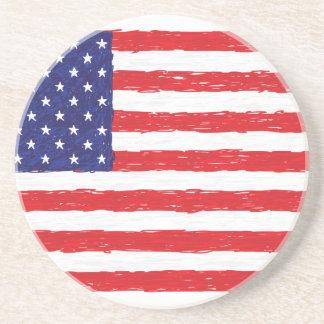 *Hand americano Sketch* da bandeira dos EUA nós Porta Copos De Arenito