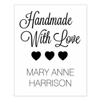 Handmade com os corações do amor personalizados carimbo de borracha