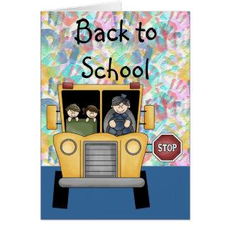 Handprints & auto escolar de volta ao cartão da es