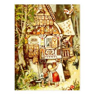 Hansel e Gretel na casa de campo do pão-de-espécie Cartão Postal