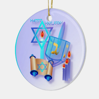 Hanukkah Dreidel-Feliz de vidro azul Ornamento De Cerâmica Redondo