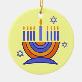 Hanukkah feliz! Ornamento de Menorah e de Dreidels