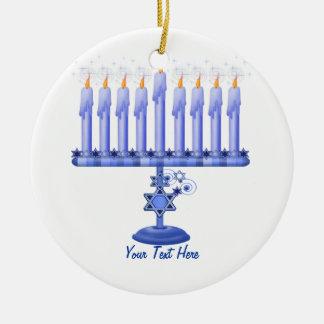 Hanukkah Menorah (customizável) Ornamento Para Arvore De Natal