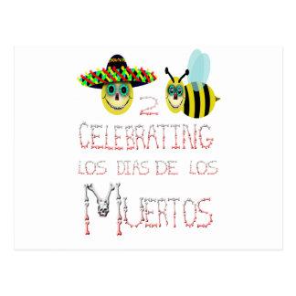 happy2bee que comemora, los dias de los muertos cartão postal