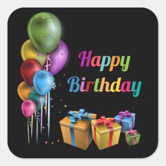 Happy Birthday autocolante quadrado